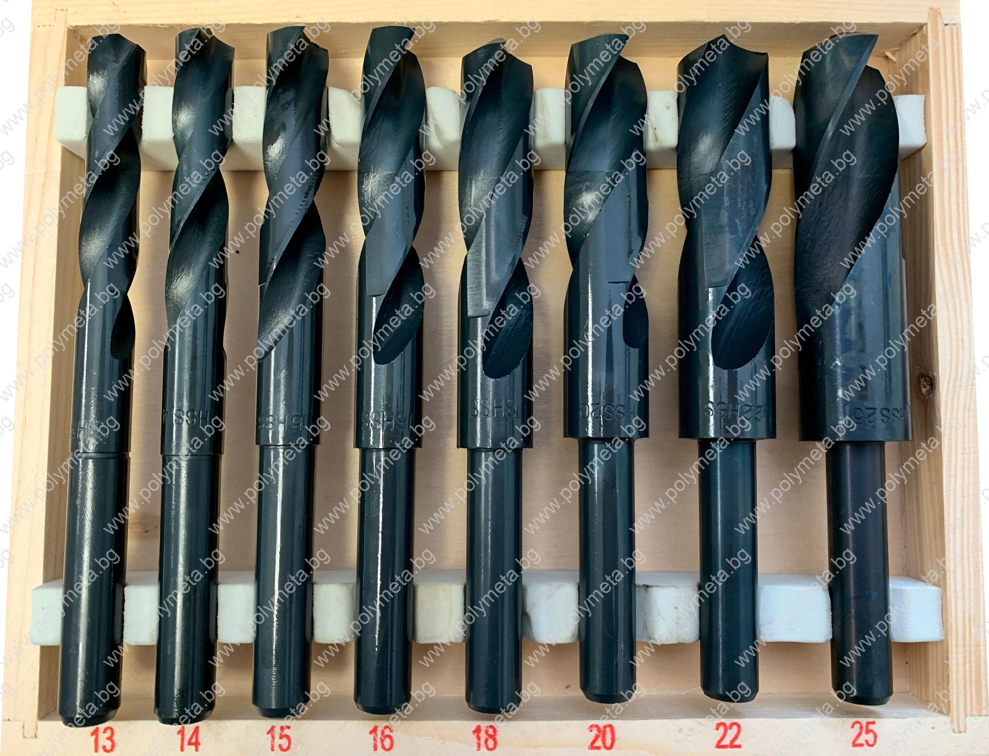 Комплект 8 бр. HSS спирални свредла с намалена опашка